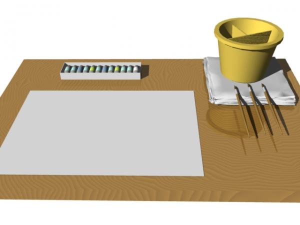 絵の具の机上整理